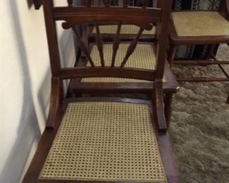 set of 6 cane seat chairs in great condition