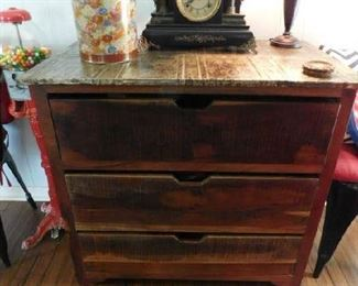 3 Drawer Chest, Tin Sides, Great Clock