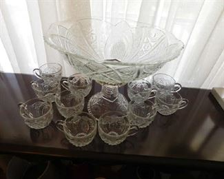 Pattern Glass Punch Bowl & Cups