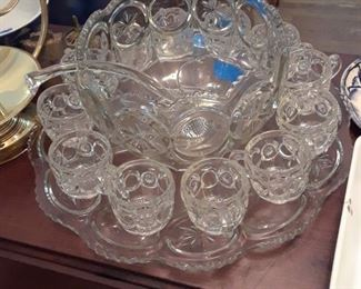 Early American pressed glass punch bowl, cups, ladle, and tray