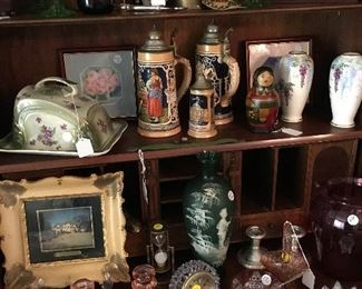 An array of collectibles and glassware