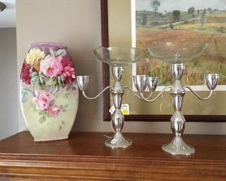 Lovely antique vase and sterling candlesticks
