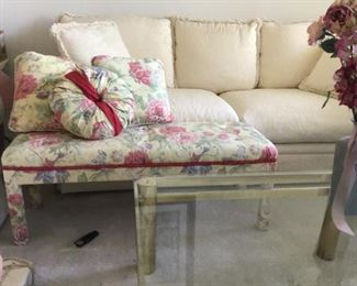 Floral upholstered bench with 3 matching throw pillows
