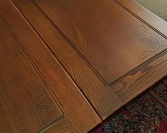 """1920's, Grand Rapids Chair Co., Jacobean dining table.  Solid wood,  double pedestal trestle base, two pull-out leaves,  78"""" long, 37"""" wide; opens to 120"""" with both leaves extended.  Includes pads.  Great condition."""