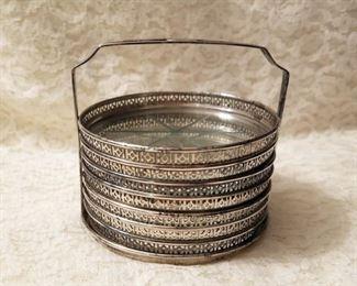 Vintage sterling silver and crystal coasters in caddie.
