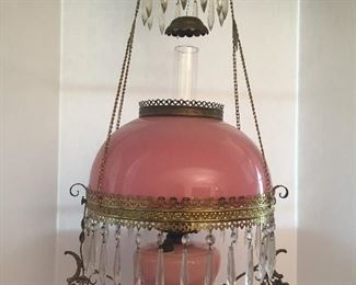 Victorian Hanging Pink Glass oil  Lamp W/Jeweled Cage