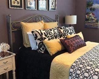 Queen metal frame..Trendy bedding