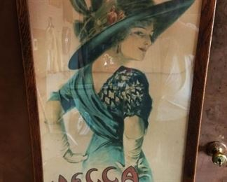 """RARE Antique """"Mecca Cigarettes"""" with Earl Christy Artwork Advertisement, Wood Mecca Cigarettes Frame"""