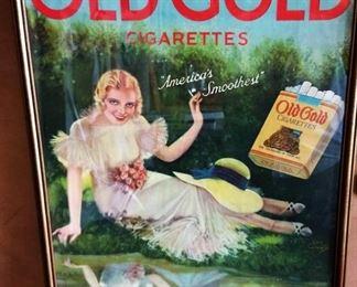 "Antique ""Old Gold Cigarettes"" with Earl Christy Artwork Advertisement, Signed, Framed"