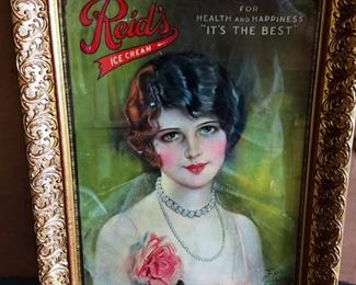 """Antique """"Reid's Ice Cream"""" with Earl Christy Advertisement, Signed, Framed"""