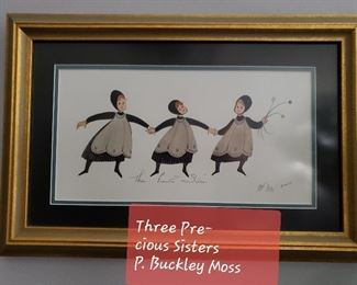 Three  Precious Sisters print by P. BUCKLEY  Moss.