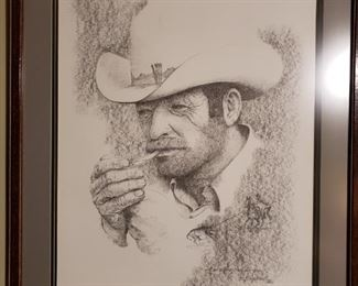 "Bob Shepherd Print ""We Start at Sun-Up Around Here, Buddy"" from an original charcoal drawing."