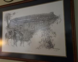 "Bob Shepherd Print ""Line Shack"" from an original charcoal drawing."