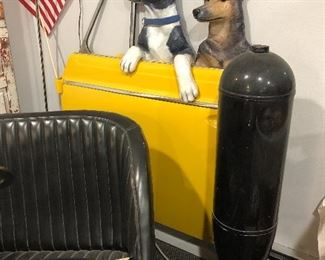 Super fun wall art with this happy dog display on a real vintage car door by artist DD LaRue