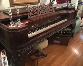 Grand piano, Stieff, 150 years old, mother of pearl keys, rosewood