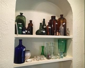 Collection of antique pharmacy bottles