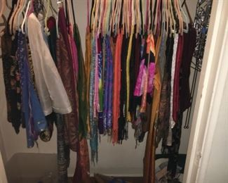 Huge collection of scarves from all over the world--great fabrics