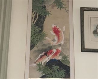 Scroll with koi