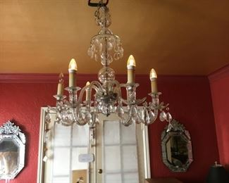 Antique Venetian crystal chandelier--another one not pictured is green crystal