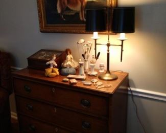 Antique Hat pins and stands, antique mirrors, antique pin cushions