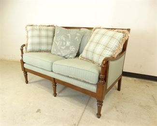 Wood Loveseat with Blue, Striped Cushions