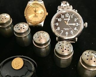 Gold coin, watches, sterling