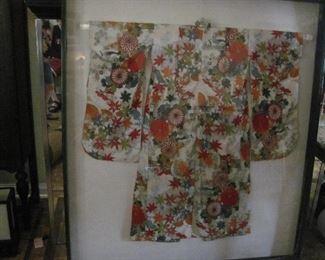 Authentic Japanese (?) Kimono - in frame case with plexiglass