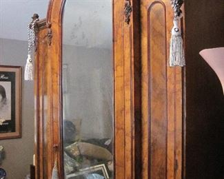 Antique Asian Armoire,  mirrored with some silver repair needed. Very Good condition, very old, very tall, probably 7-8'