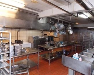 stainless steel tables , sinks hoods post and pans