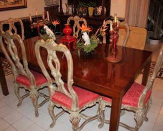 Dining Table with 6 Chairs and Decorative Items