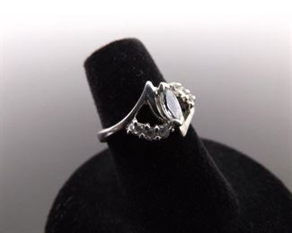 .925 Sterling Silver Faceted Topaz Ring Size 6