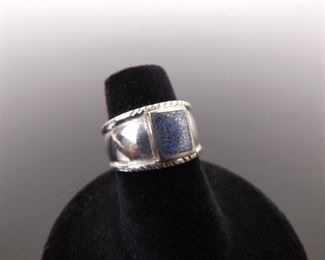 .925 Sterling Silver Inlayed Lapis Ring Size 6
