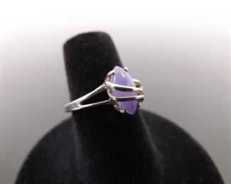 .925 Sterling Silver Amethyst Cabochon Ring Size 5.75