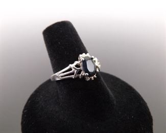 .925 Sterling Silver Faceted Sapphire Ring Size 8