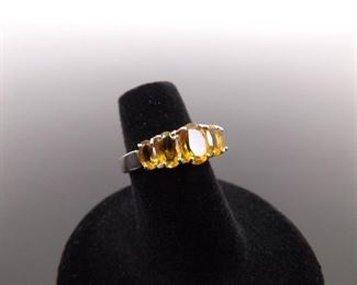 .925 Sterling Silver Ring Citrine Crystal Size 5.75