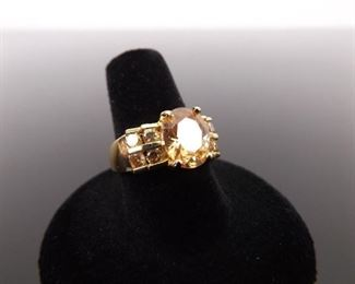 .925 Sterling Silver Citrine Crystal Ring Size 8.5
