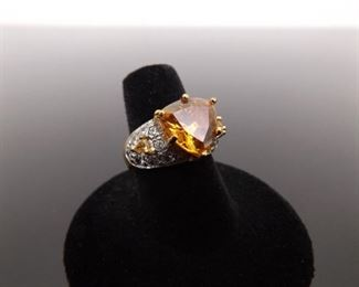 .925 Sterling Silver Citrine Crystal Vermeil Ring Size 7