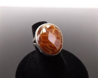.925 Sterling Silver Agate Ring Size 6
