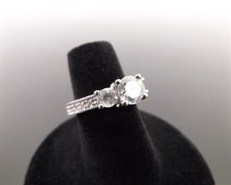 .925 Sterling Silver 3 Crystal Ring Size 5.5