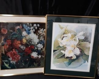 2 framed and matted floral prints