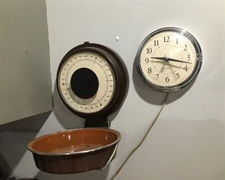 Vintage Folding Wall Scale and Clock