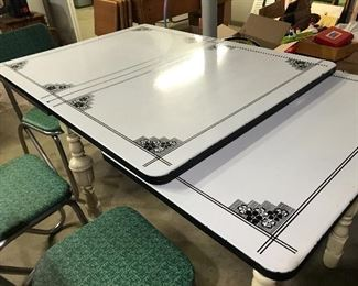 ENAMEL TOP KITCHEN TABLE WITH PULLOUT LEAVES AND SINGLE DRAWER