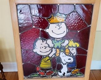STAINED GLASS PEANUTS WINDOW