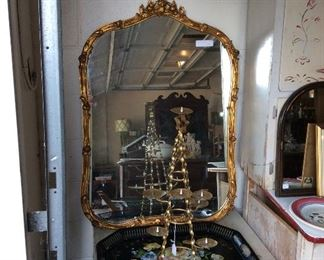 Gilded mirror (sold) and tole trays