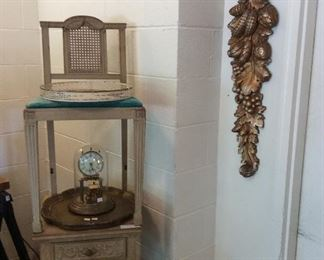 Beautiful chair, side table and mirror with carved bows.