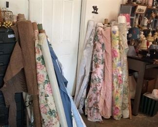 Lots of fabulous fabrics for custom upholstery and curtains