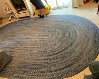 #1		Braided Blue oval Rug   109x15ft Long	 $100.00