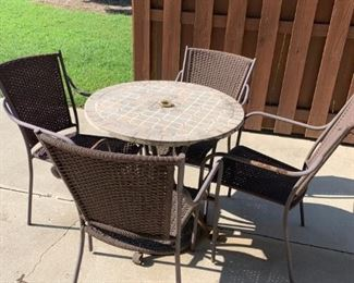 #5As Is Stone Top Smaller Table 30x28.5 w/4 chairs   $60.00