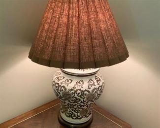 #6Porcelain Lamp Brown/White Ginger Jar Lamp $75.00