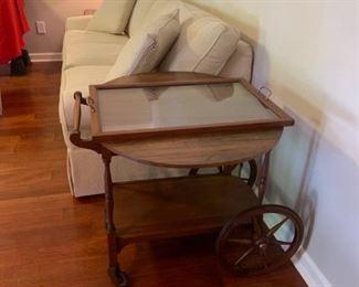 #7Drop-Side tea cart w/lift-off Tray on Wheels 18-33x26 $125.00